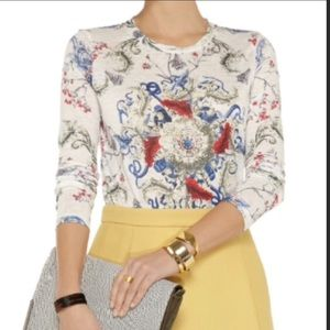 Prabal Gurung Floral Abstract Multicolor Crew Neck